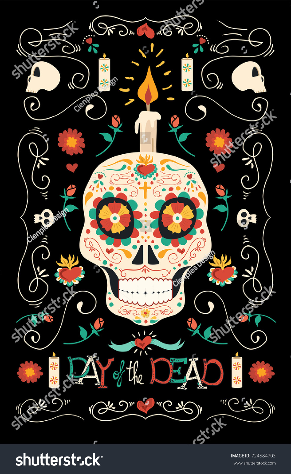 Day Of The Dead Hand Tattoo: Mexican Day Dead Poster Illustration Hand Stock Vector