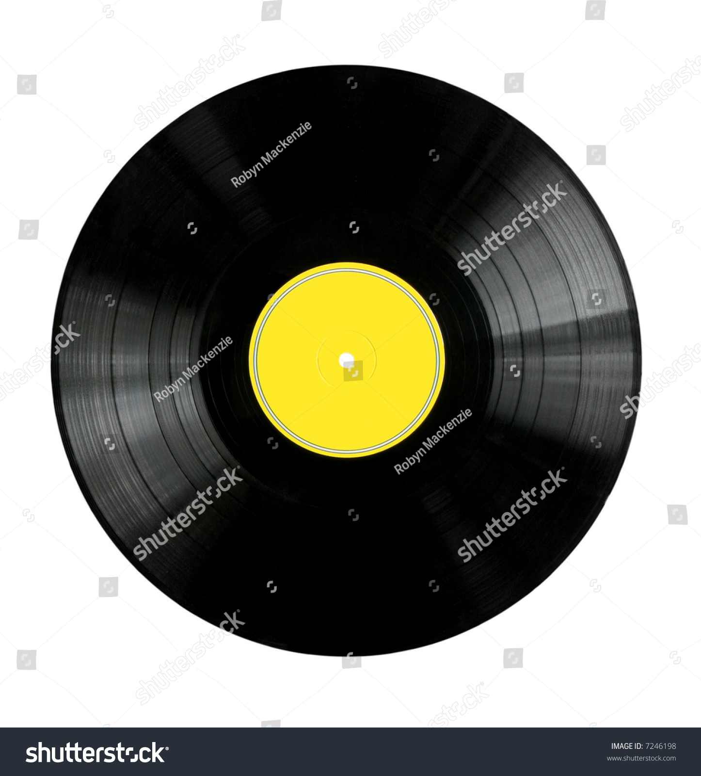 vinyl 33rpm record with yellow label stock photo 7246198 shutterstock. Black Bedroom Furniture Sets. Home Design Ideas