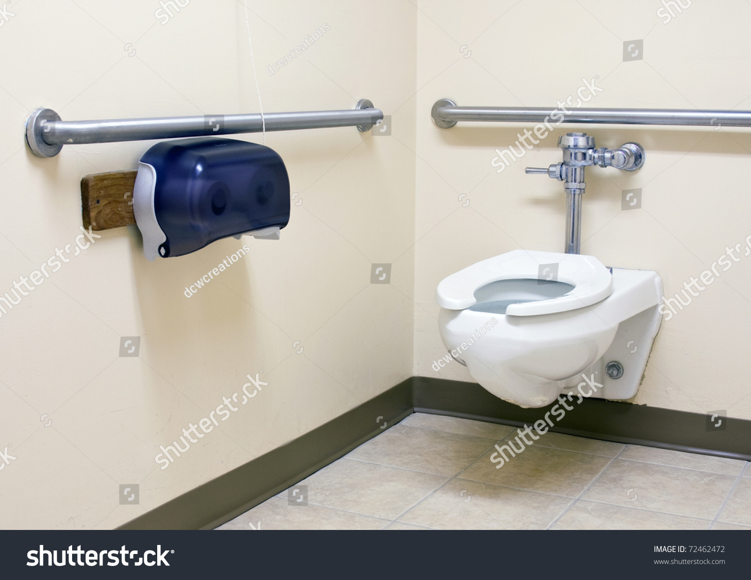 handicap bathroom with grab bars on the walls