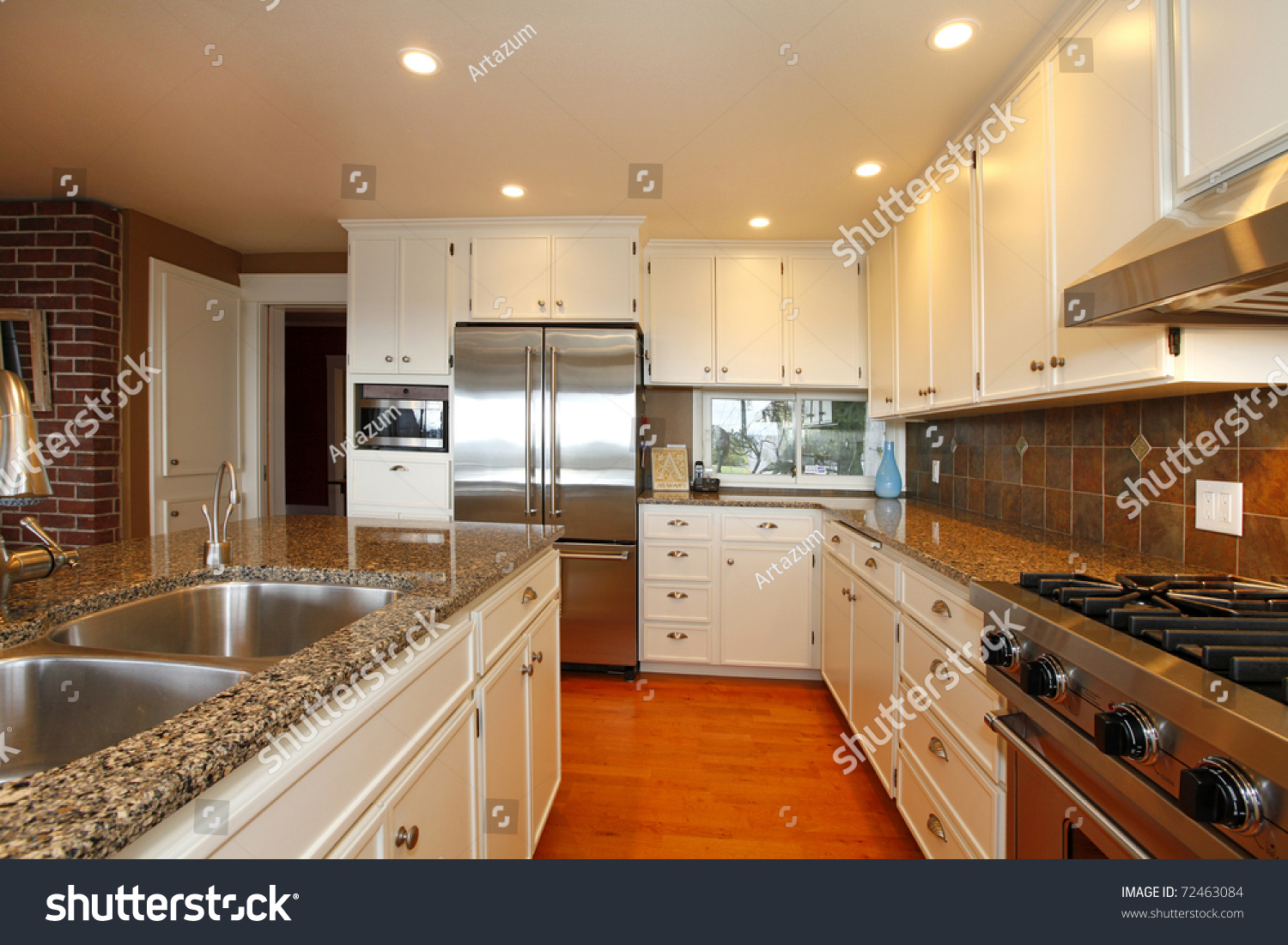 Luxury white kitchen oak floors beautiful stock photo Luxury kitchen flooring