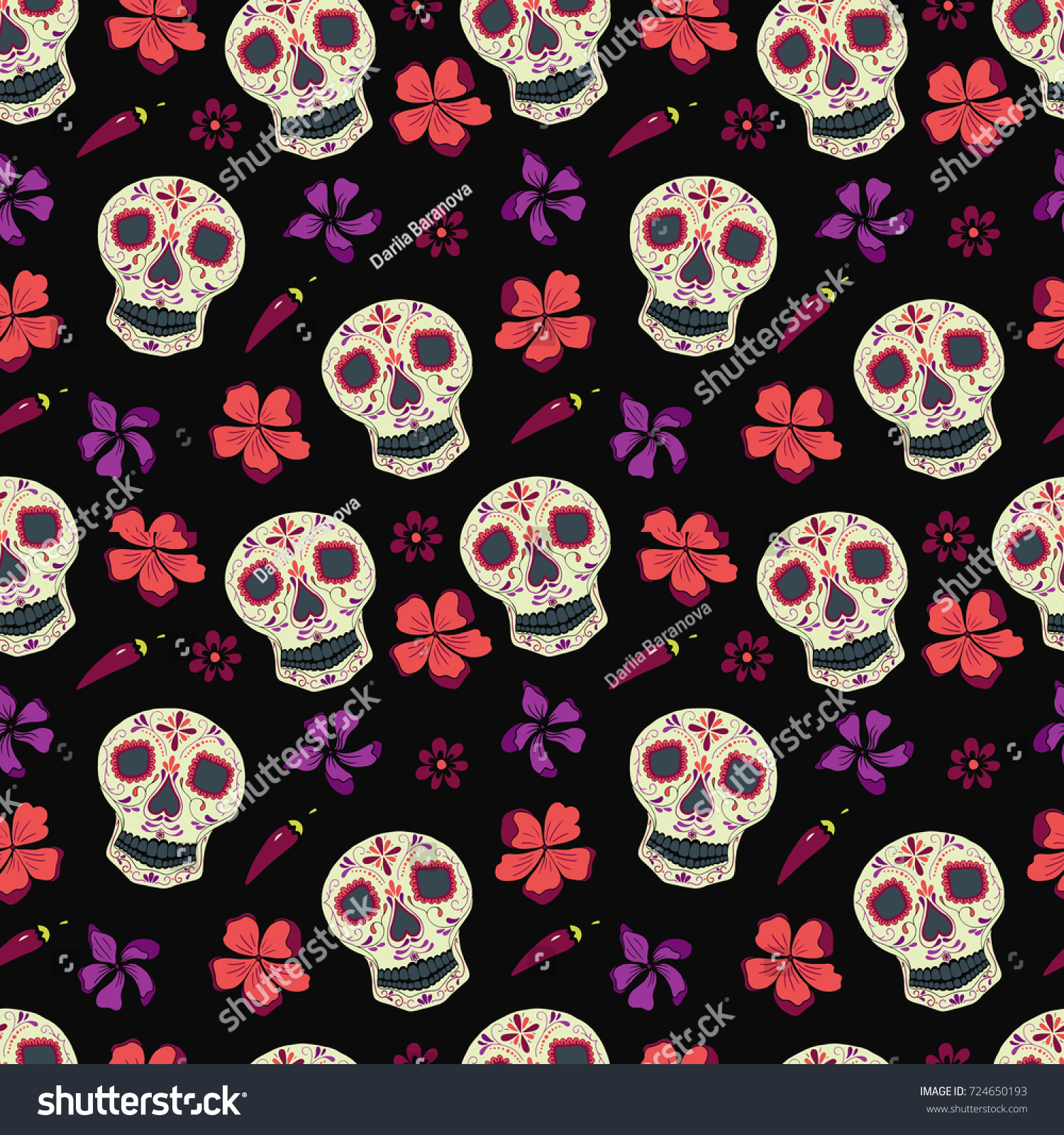 Vector Seamless Pattern Day Dead Dia 724650193