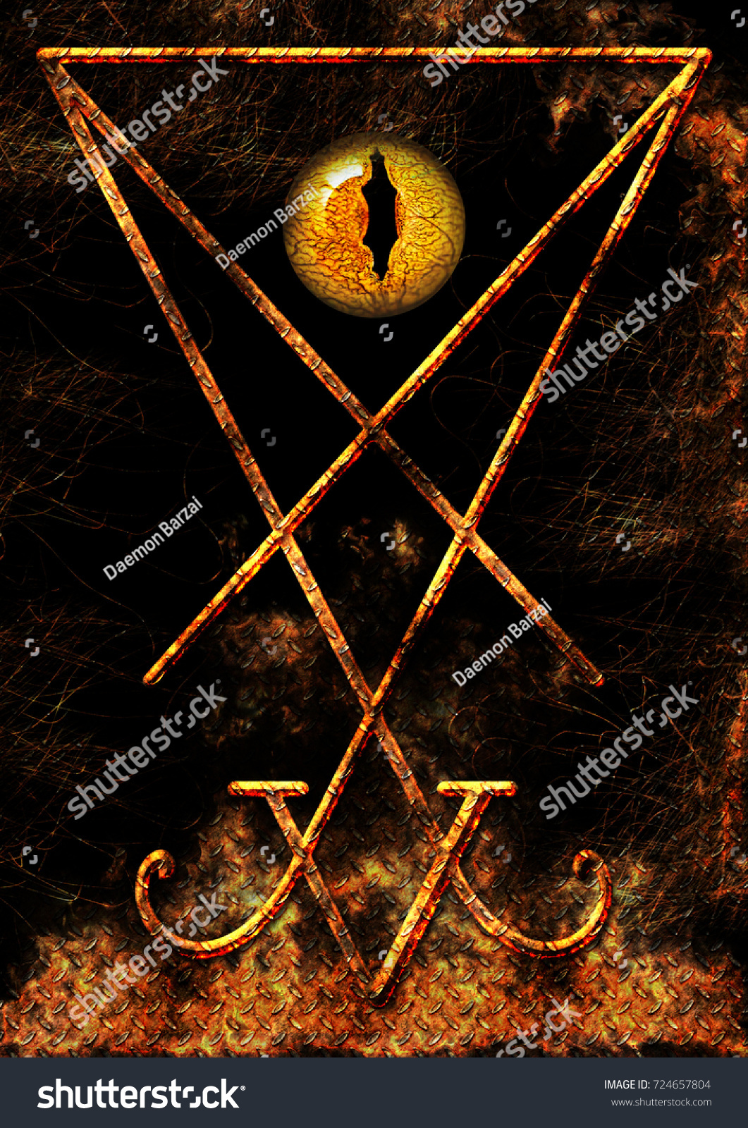 Symbol Lucifer Reptilian Eye On Fire Stock Illustration Royalty
