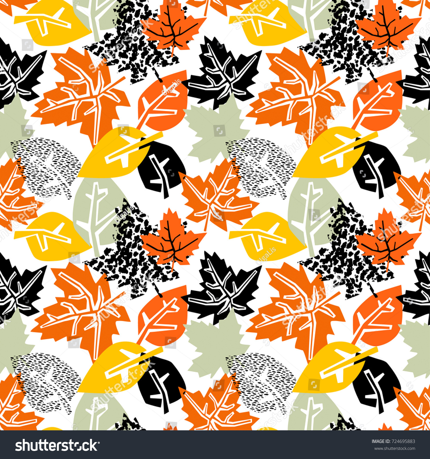 Seamless Autumn Leaves Patterntrendy Print Collage Stock