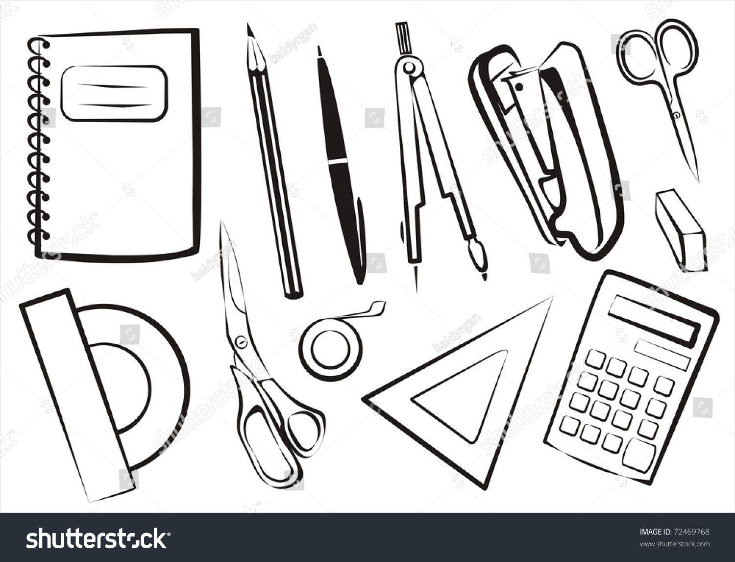 Notebook And Pen Sketch Stock Vector Art More Images Of: Stationery School Goods Set Isolated Equipment Stock