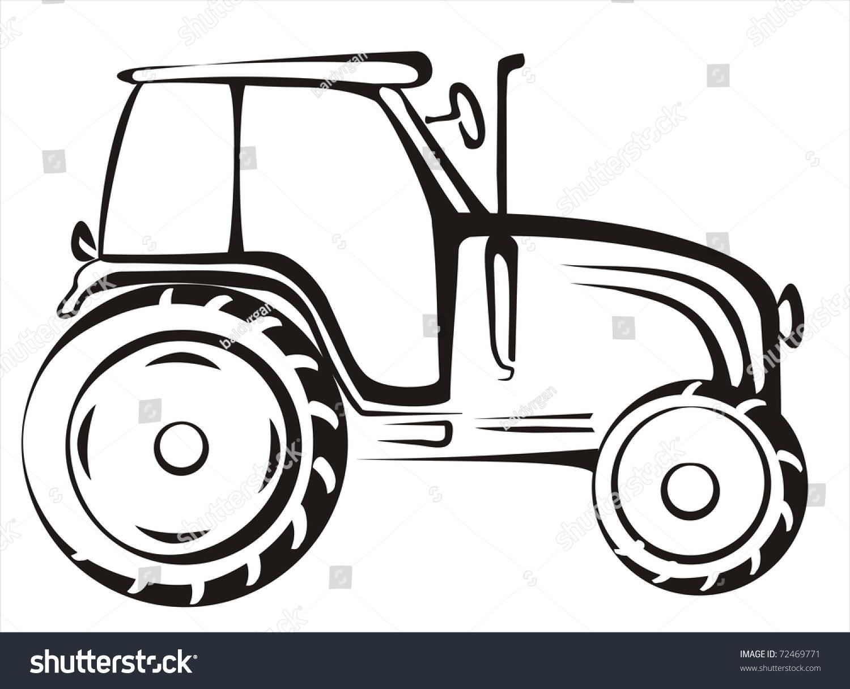 Simple Tractor Clip Art : Tractor symbol simple black lines stock vector