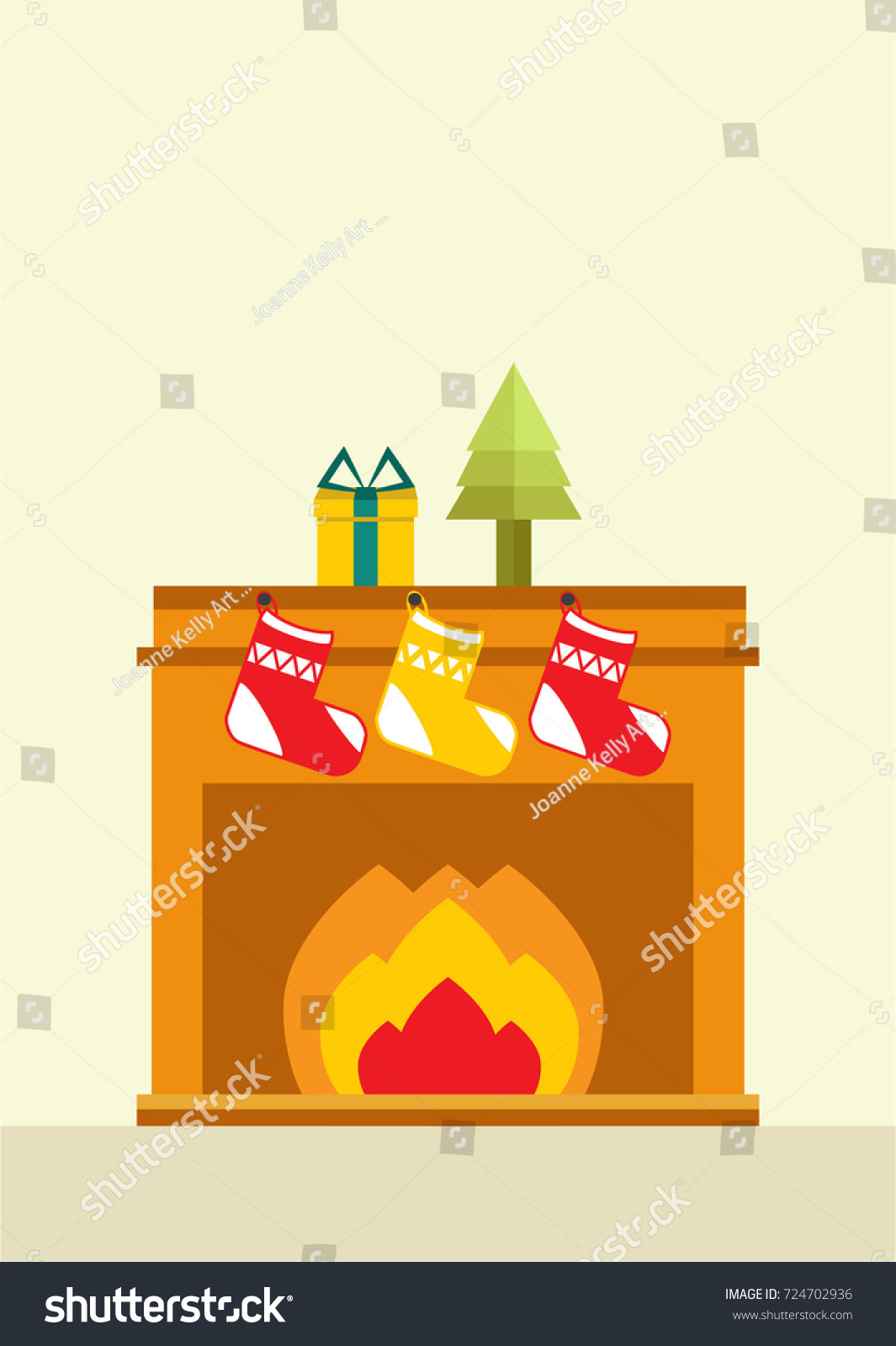 christmas fireplace ornaments on top three stock vector 724702936