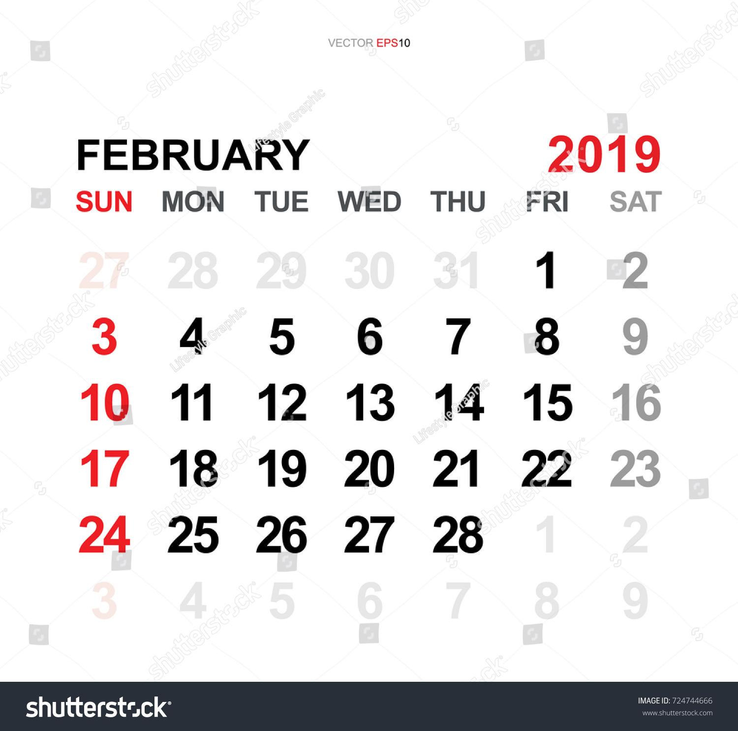 February 2019 Vector Monthly Calendar Template Stock Vector Royalty
