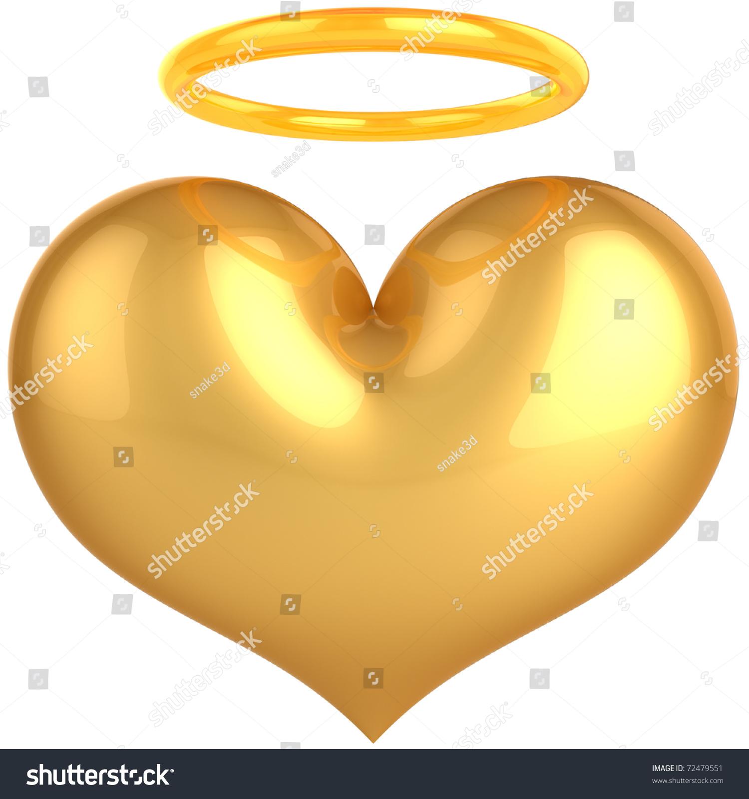 Heart Love Angel Golden Symbol Love Stock Illustration 72479551