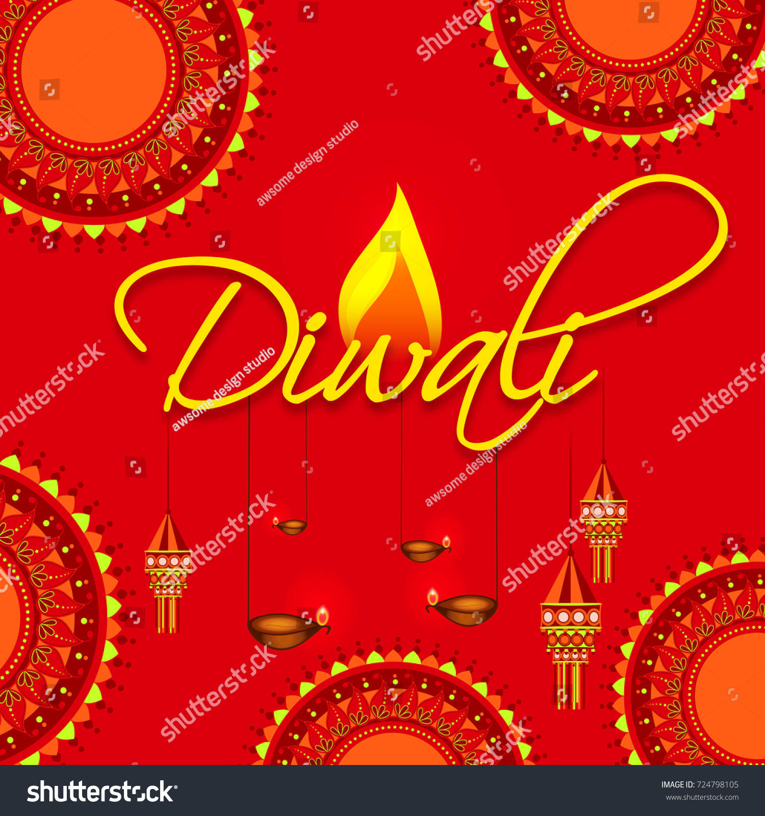 Happy Diwali Diwali Wishes Illustration Greeting Stock Vector