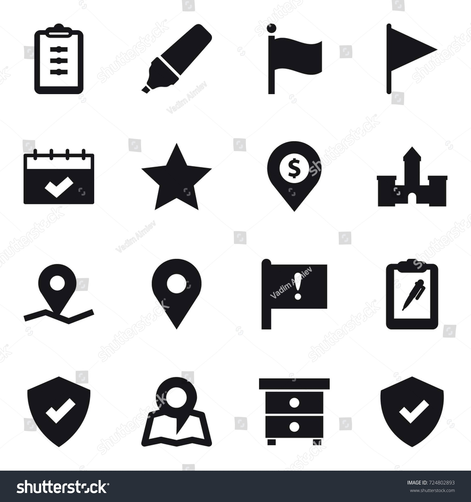 16 vector icon set clipboard marker stock vector 724802893 16 vector icon set clipboard marker flag calendar star dollar biocorpaavc Image collections