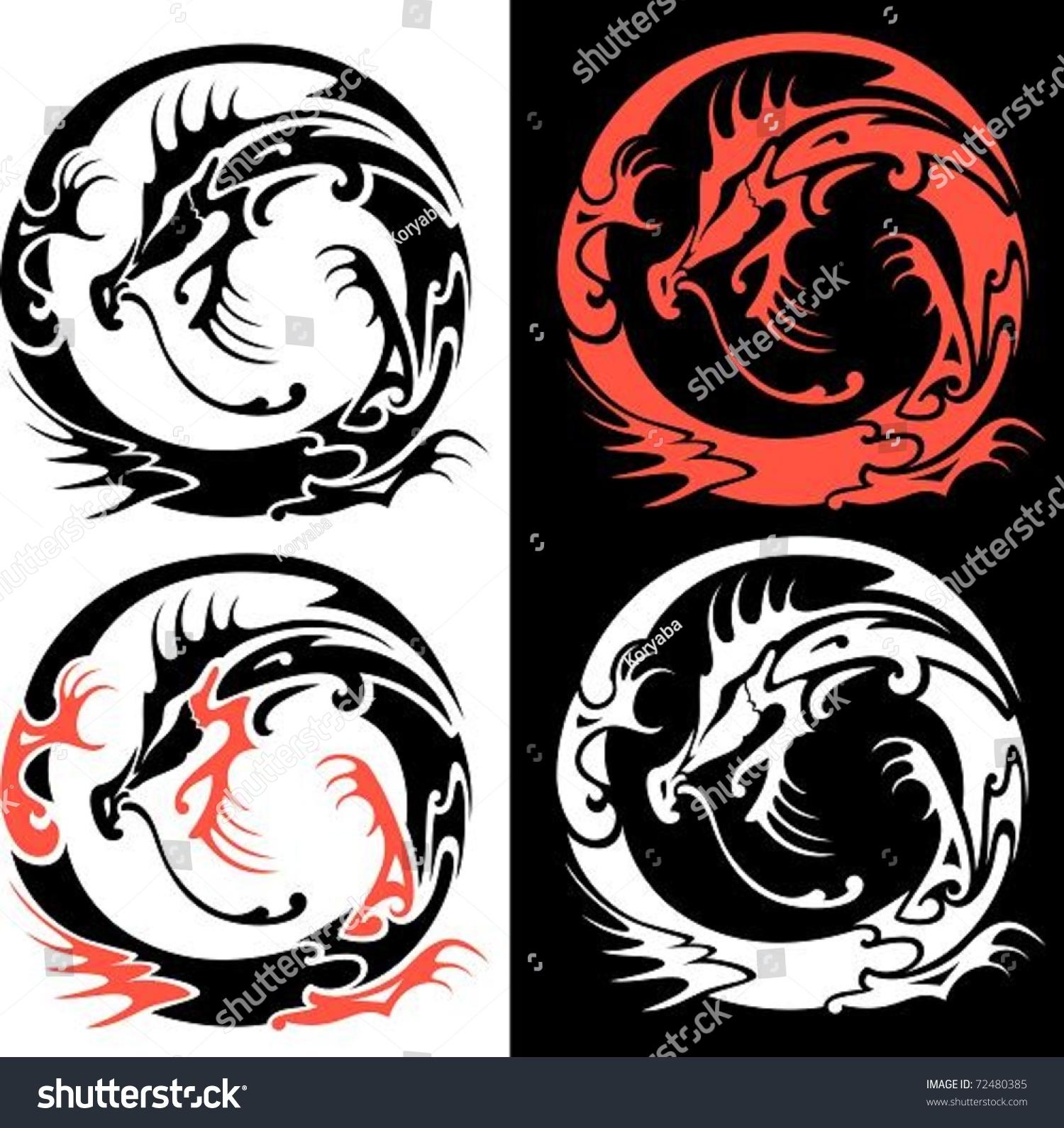 Tribal Dragon Vector Illustration Tribal Dragons Stock