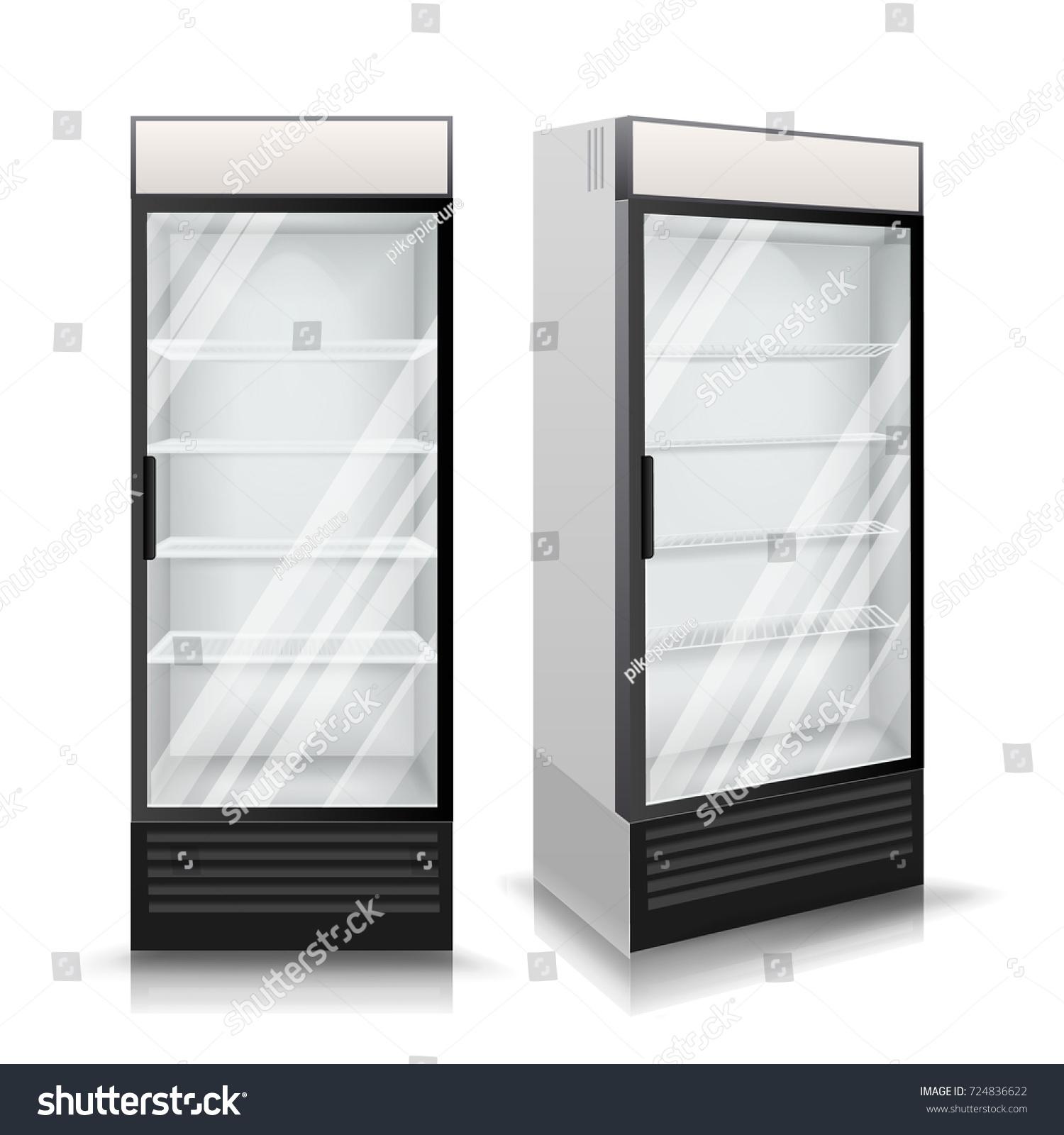 3d realistic refrigerator vector glass door stock vector
