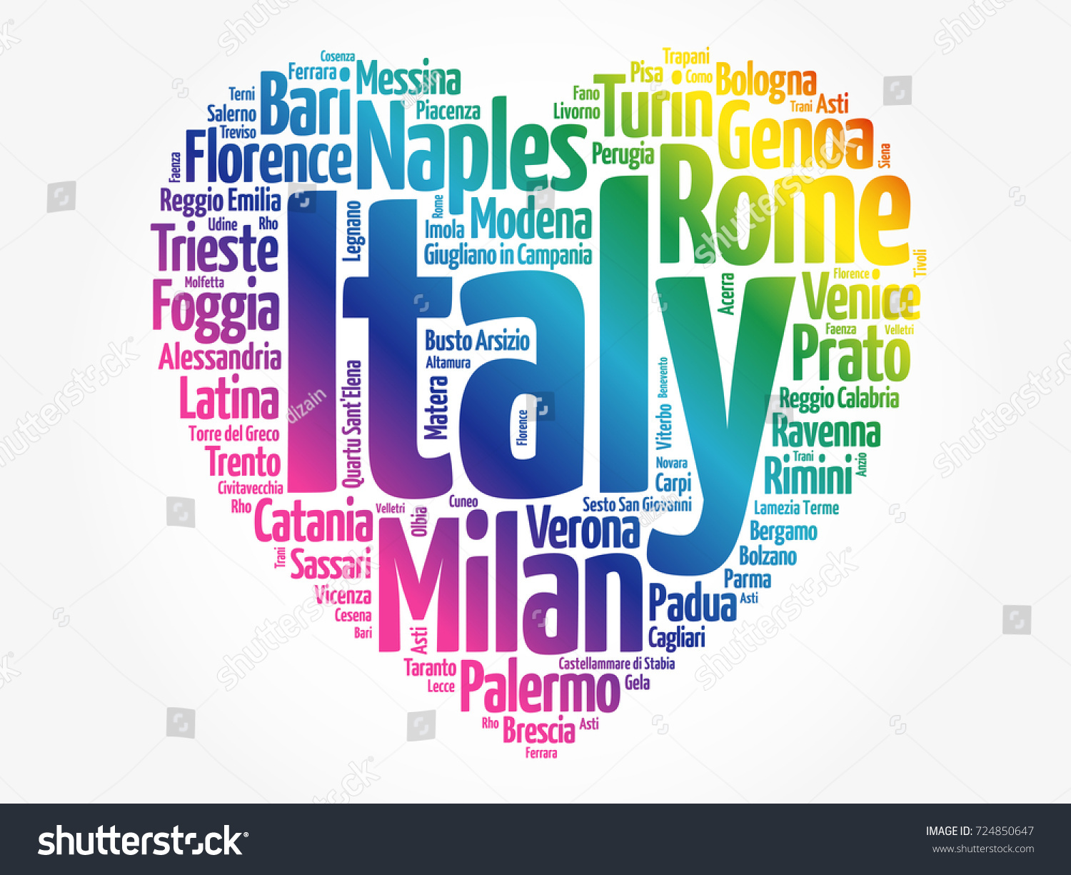 list cities towns italy composed love stock vector (royalty free
