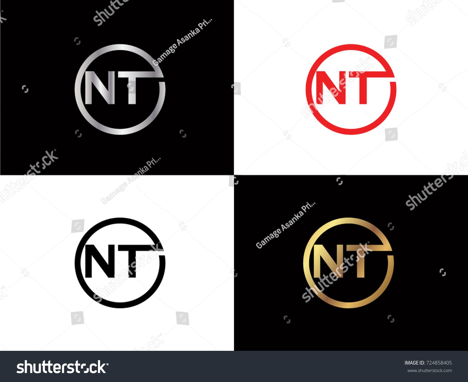 Nt Text Gold Black Silver Modern Stock Vector Royalty Free