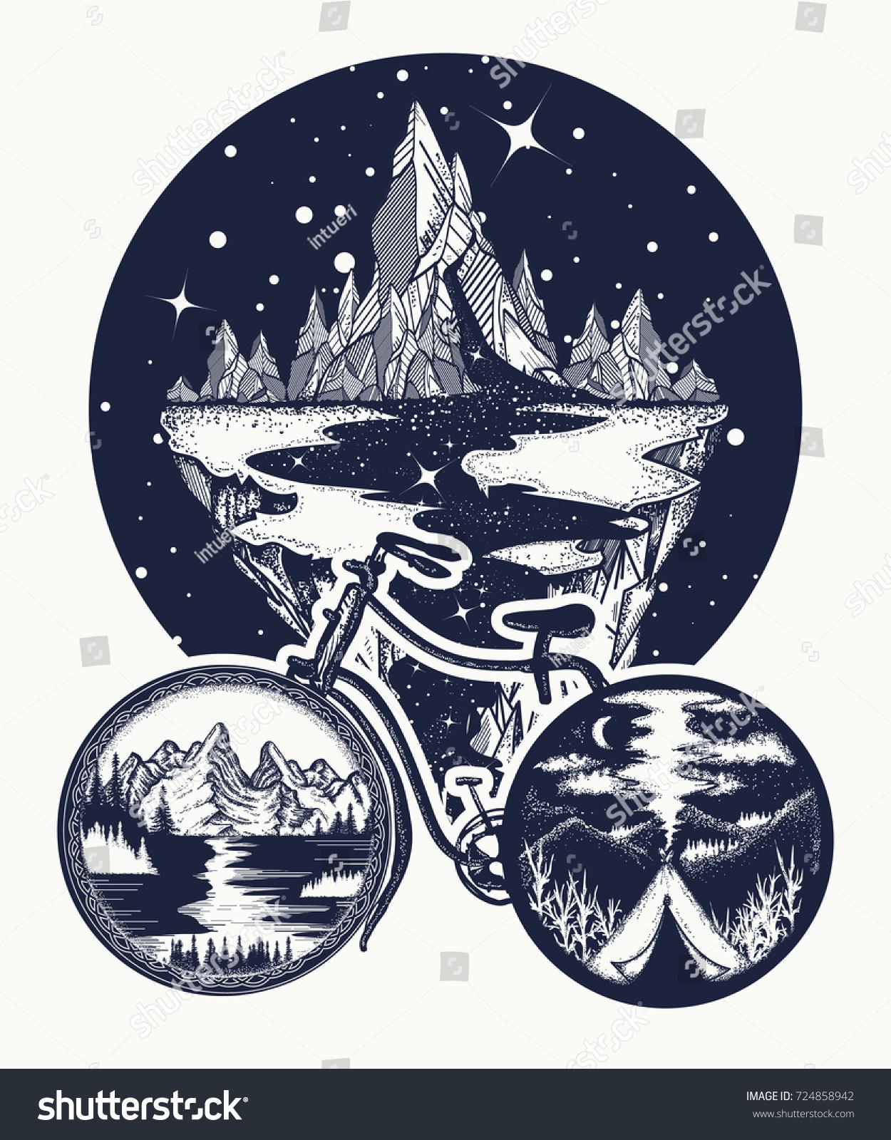 Outdoors tattoo tshirt design bicycle tattoo stock vector outdoors tattoo and t shirt design bicycle tattoo art symbol of travel biocorpaavc Images
