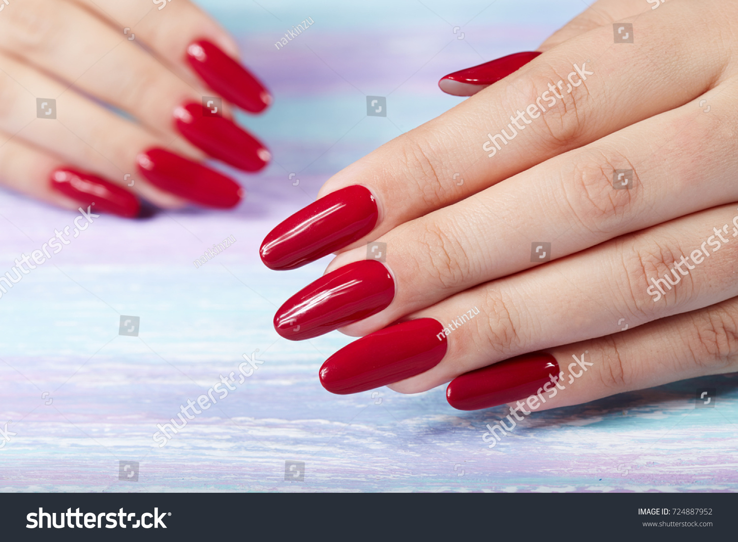 Hands Long Artificial Manicured Nails Colored Stock Photo (Royalty ...