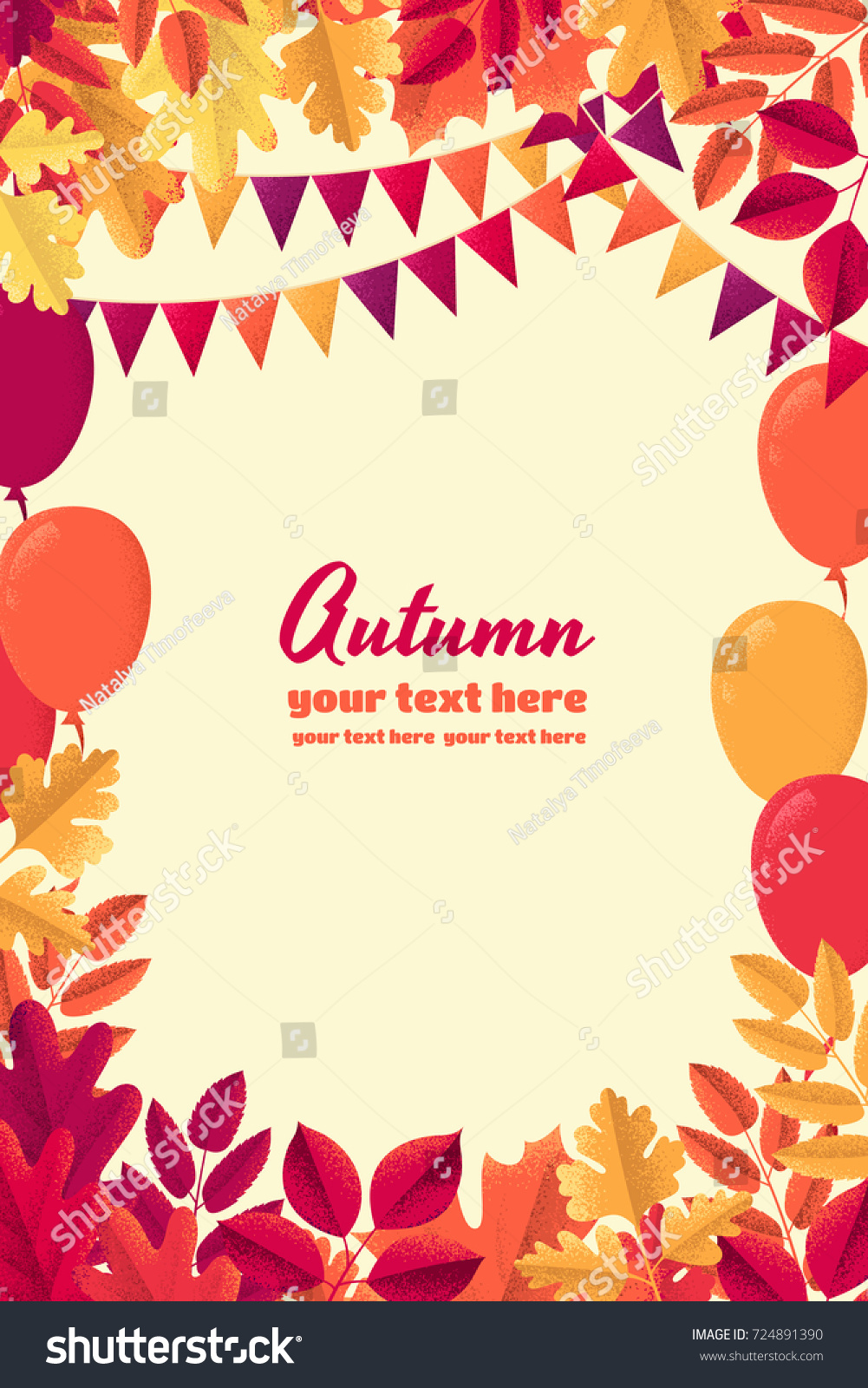 various autumn leaves party flags balloons stock vector 724891390