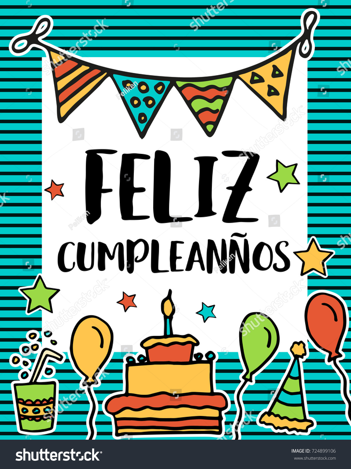 Feliz Cumpleanos Happy Birthday Greeting Written Stock Illustration