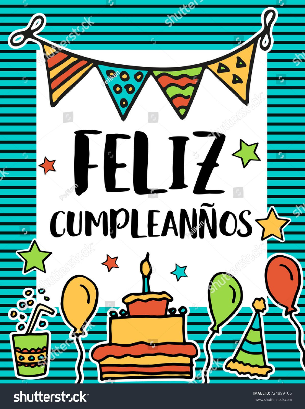 Feliz cumpleanos happy birthday greeting written stock illustration feliz cumpleanos happy birthday greeting written in spanish language colorful festive sketch for card m4hsunfo
