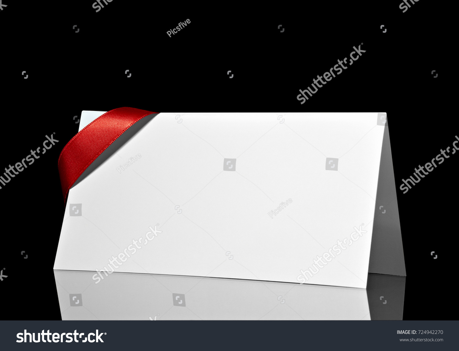 Close greeting card note red ribbon stock photo 724942270 close up of a greeting card note with red ribbon on white background kristyandbryce Choice Image