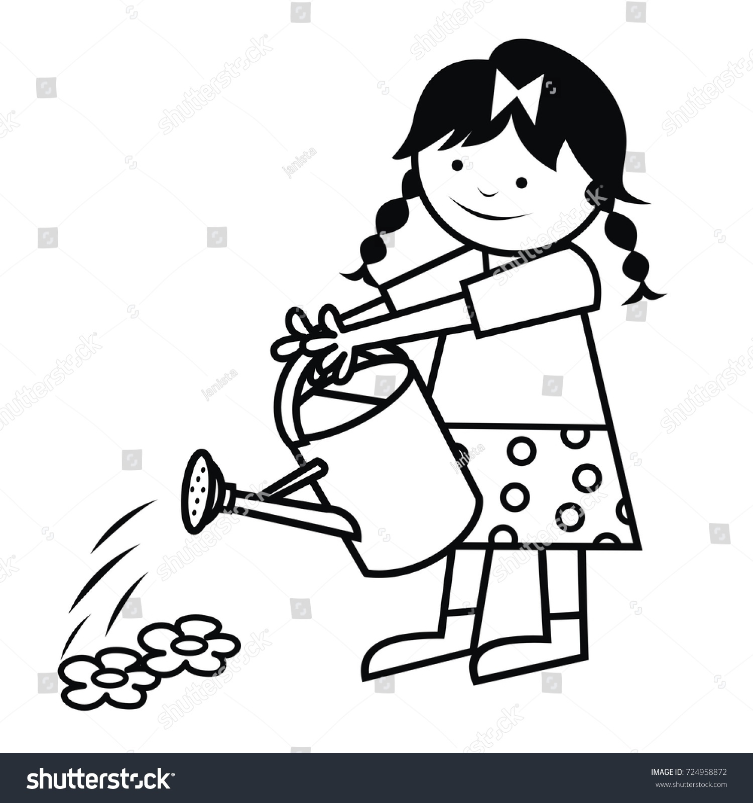 Girl Watering Flowers Vector Icon Coloring Stock Vector 724958872 ...