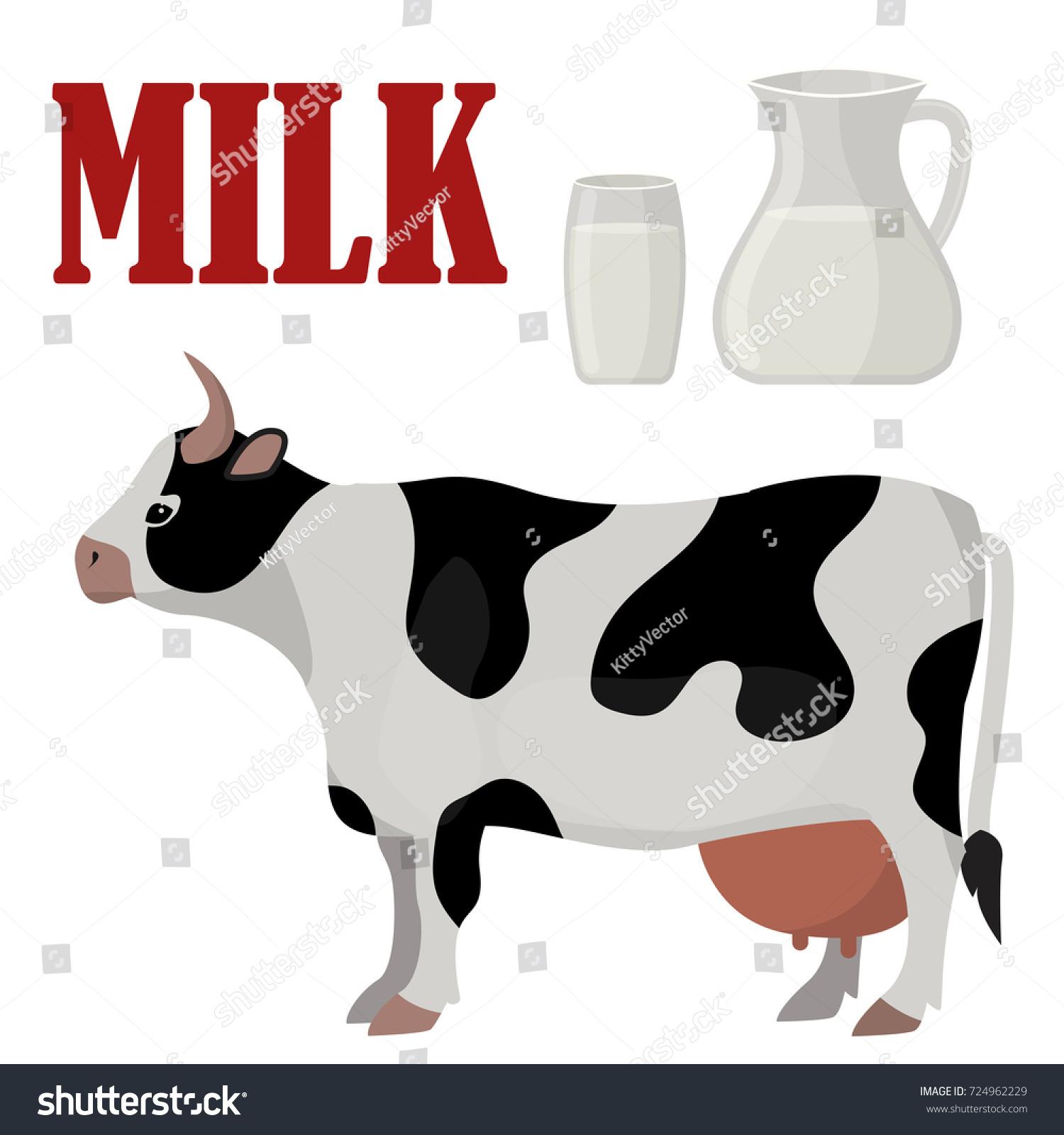 cow farm animal funny cartoon vector stock vector 724962229