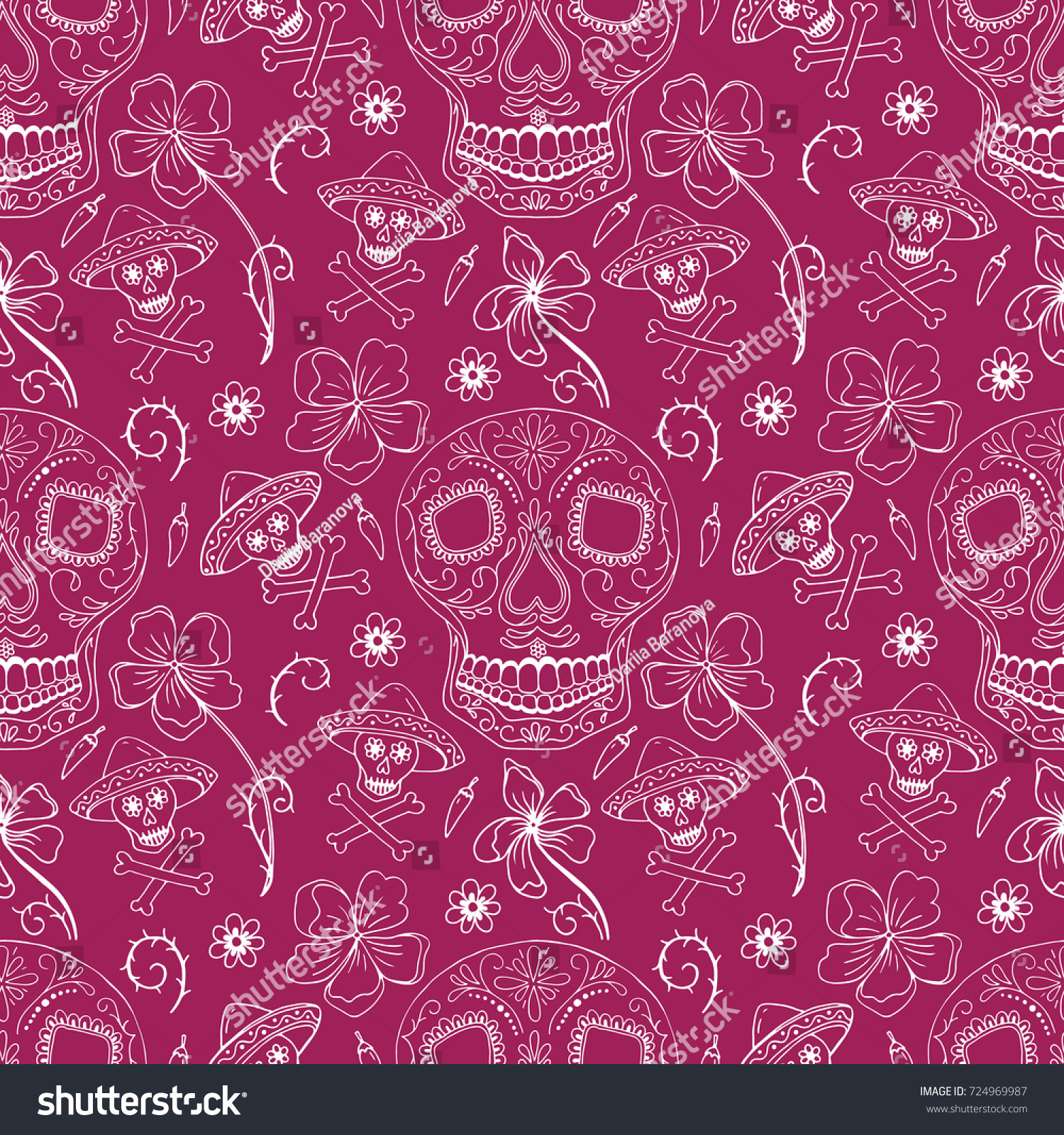 Vector Seamless Pattern Day Dead Dia Stock Vector Royalty Free