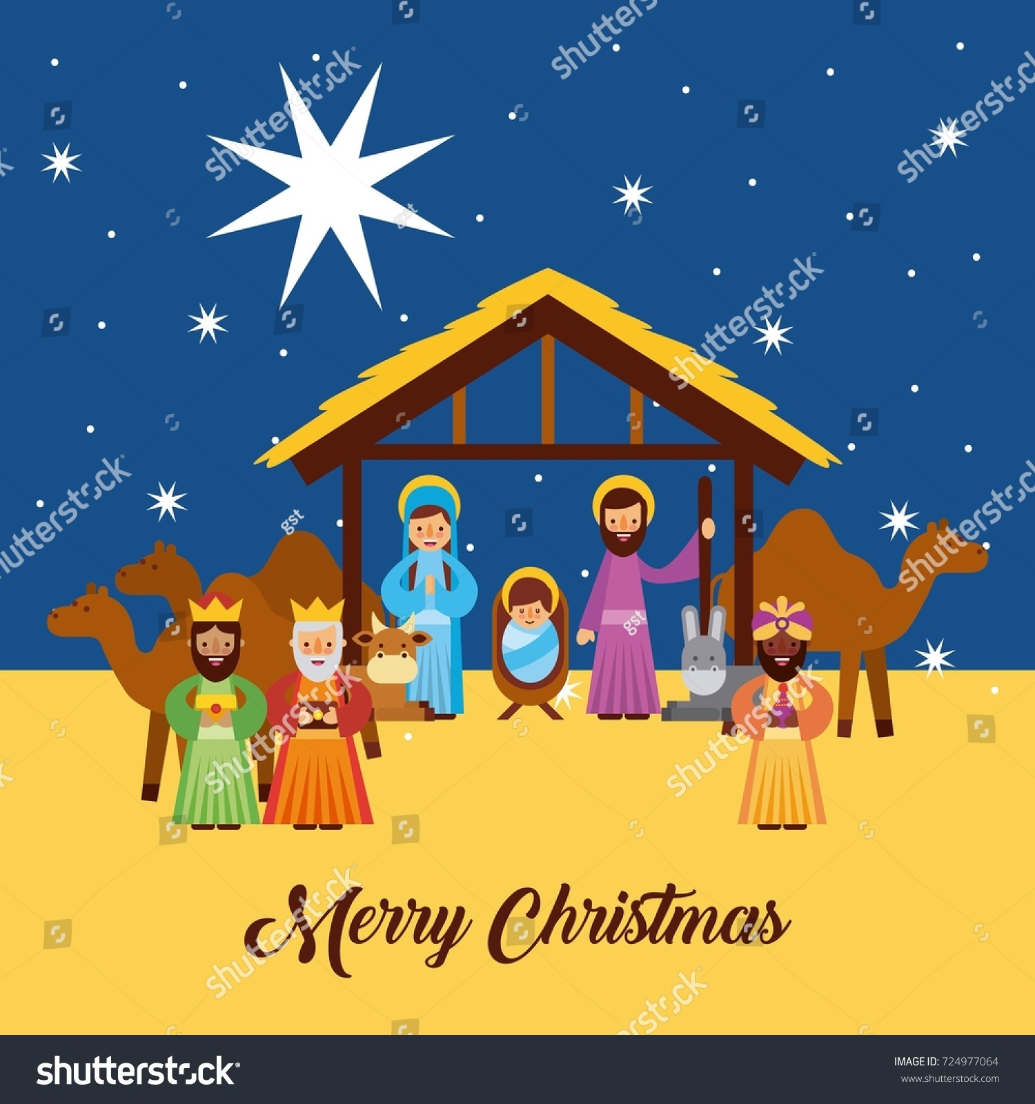 Merry christmas greetings jesus born manger stock vector 724977064 merry christmas greetings with jesus born in manger joseph and mary wise king characters kristyandbryce Image collections