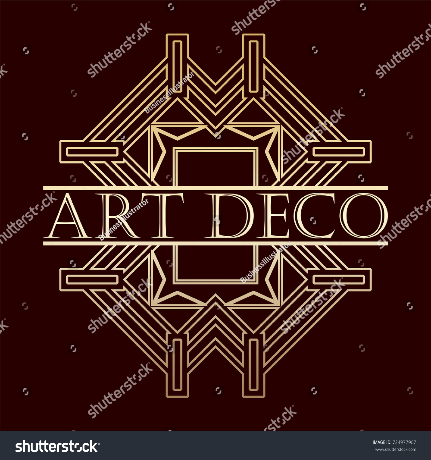 vintage retro art deco frame text stock vector 724977907 shutterstock. Black Bedroom Furniture Sets. Home Design Ideas