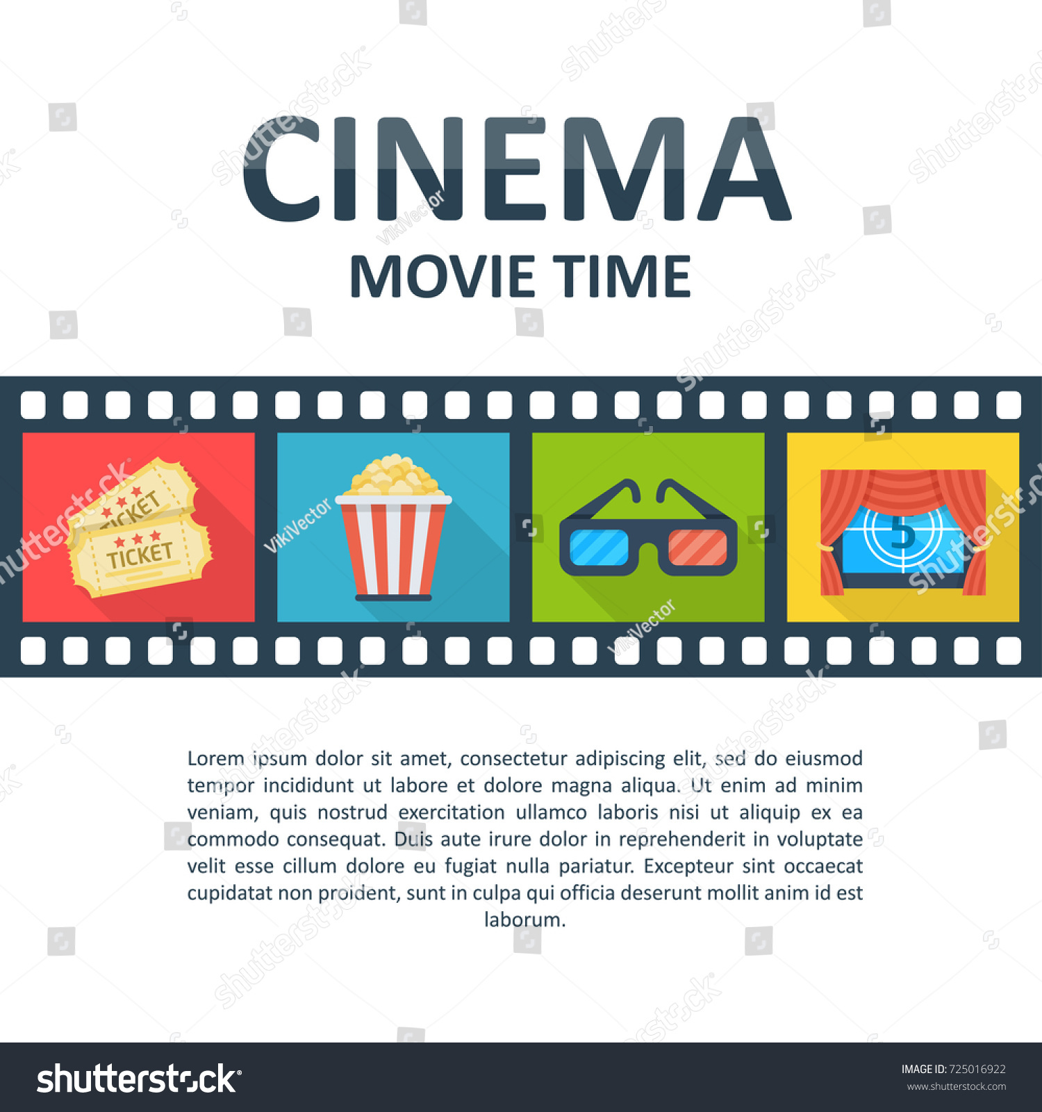 Cinema Background Template Movie Time Poster Stock Vector Royalty Free 725016922