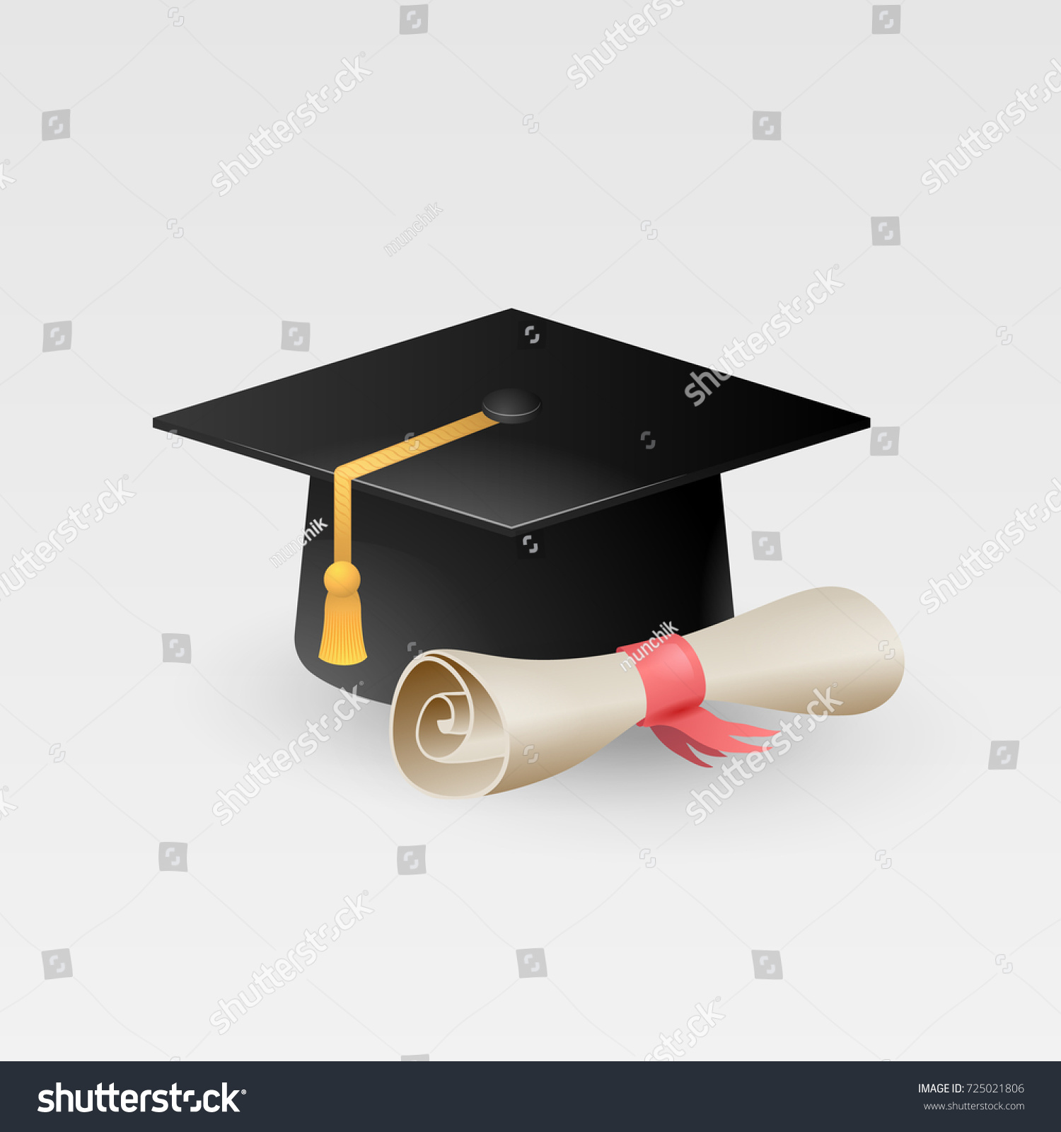 Uncategorized Paper Graduation Caps graduation cap paper scroll diploma vector stock 725021806 with isolated on white background hat tassel