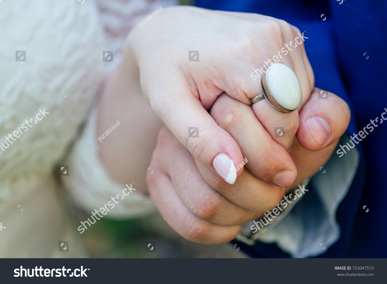 Groom Holds Brides Hand Beautiful Large Stock Photo 725047510 ...