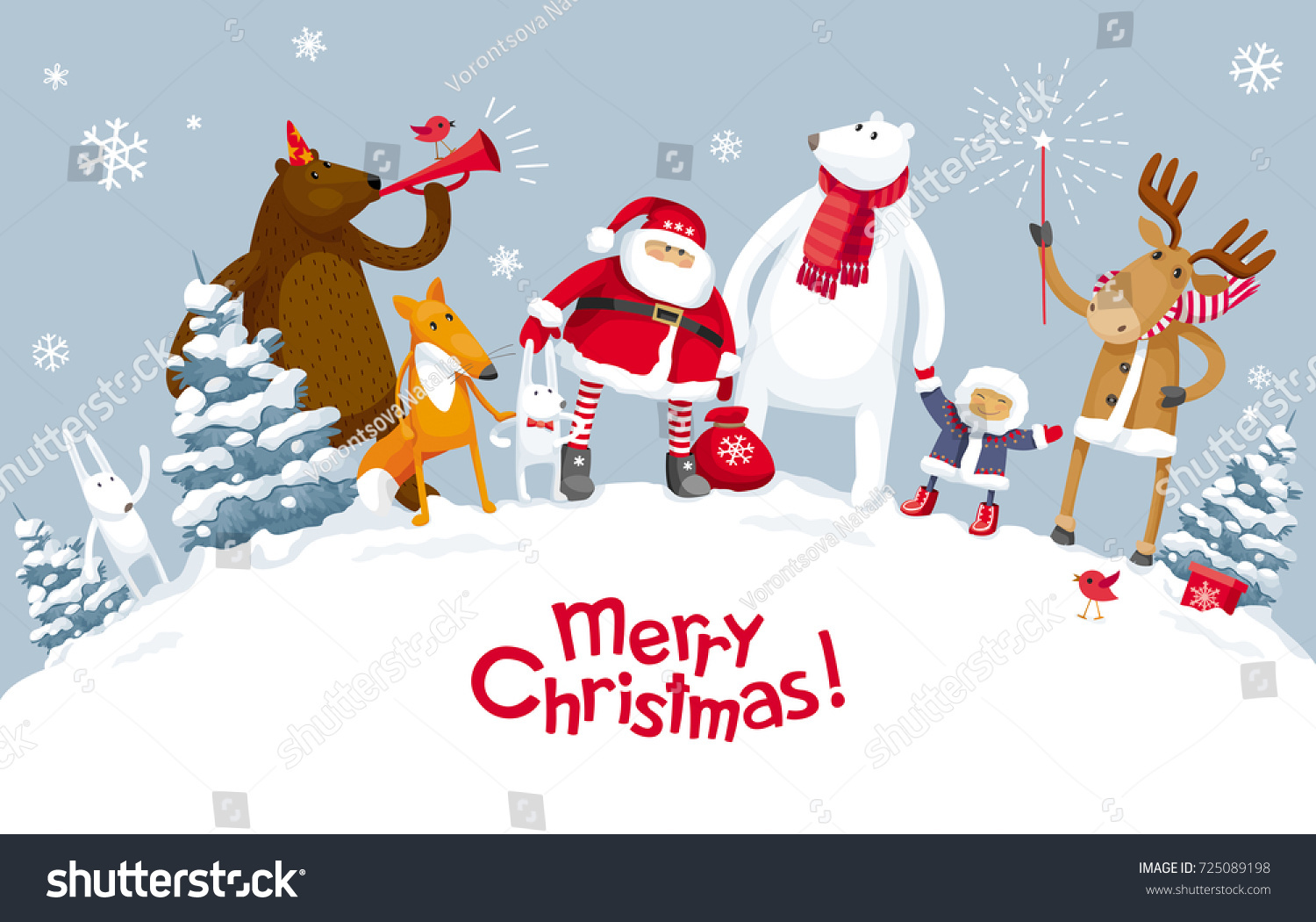 christmas party winter forest participation santa stock vector
