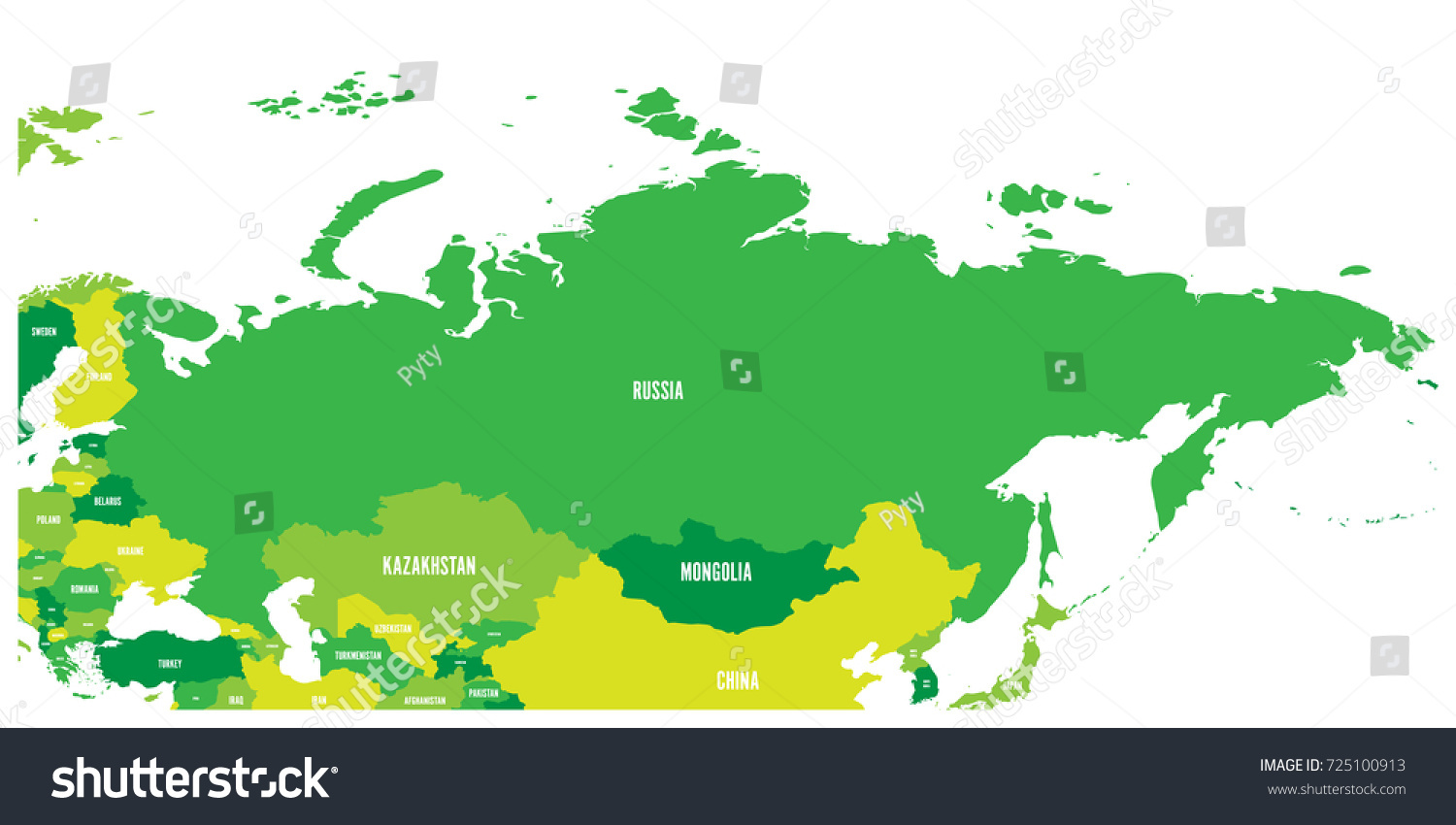 Political Map Russia Surrounding European Asian Stock Vector - Russia map and surrounding countries