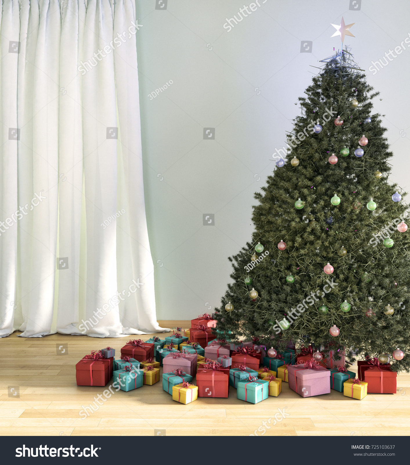 Christmas Tree Living Room 3 D Render Stock Illustration 725103637 ...