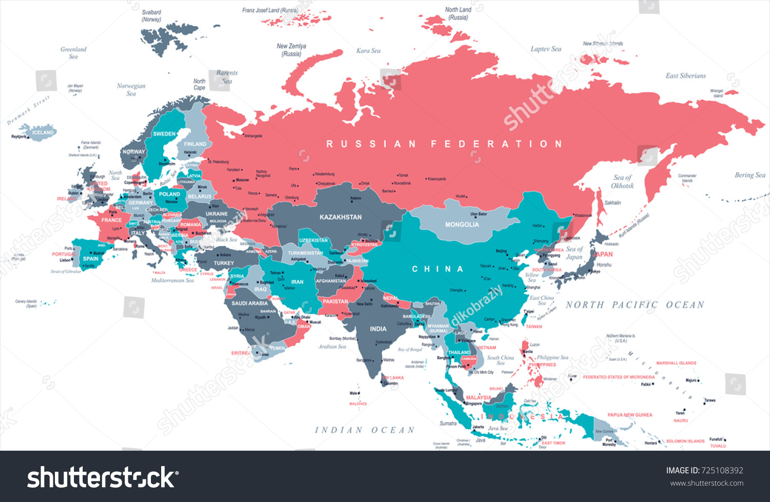 Eurasia europa russia china india indonesia vectores en stock eurasia europa russia china india indonesia thailand map detailed vector illustration gumiabroncs