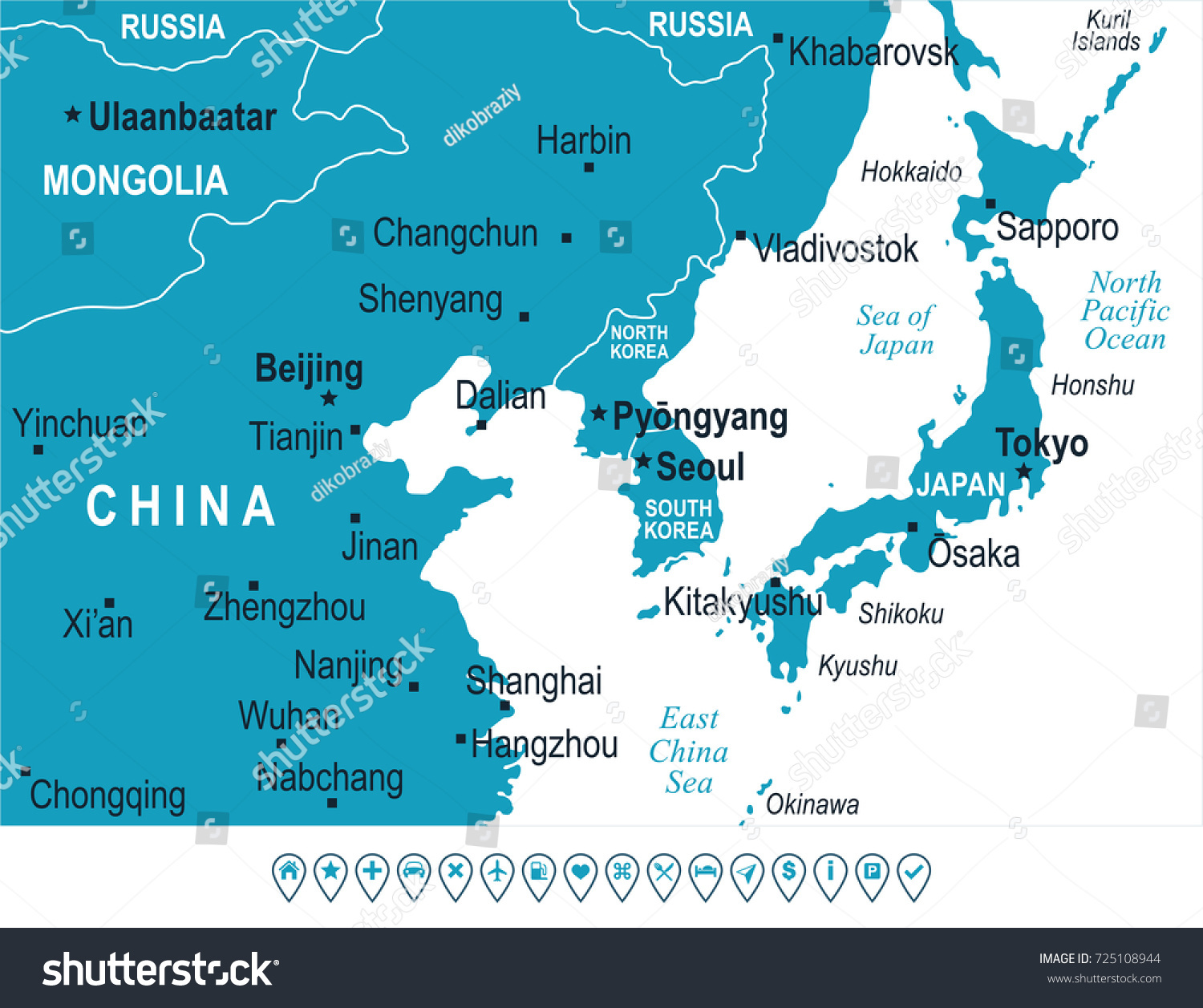 North Korea South Korea Japan China Russia Mongolia Map - Detailed ...