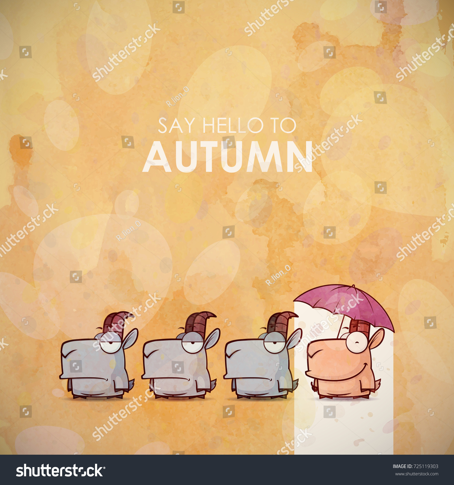 Autumn Greeting Card Funny Animal Character Stock Vector 725119303