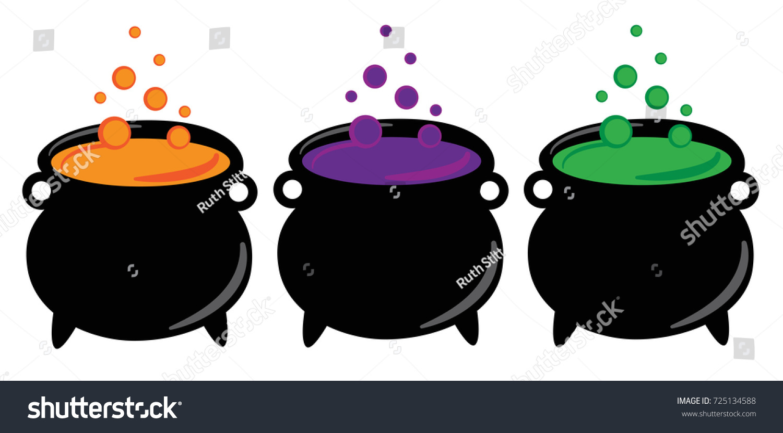 happy halloween witches cauldrons