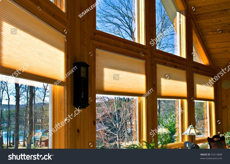 Large Windows House Showing Window Treatments Stock Photo