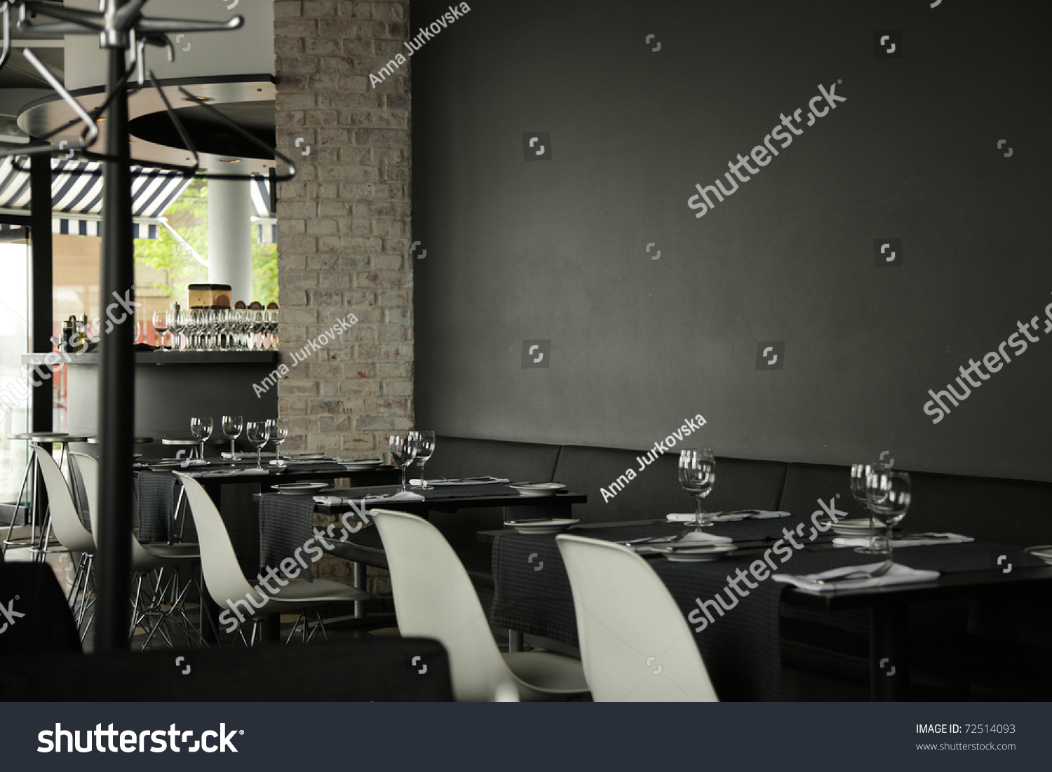 Restaurant interior background dark wall stock photo