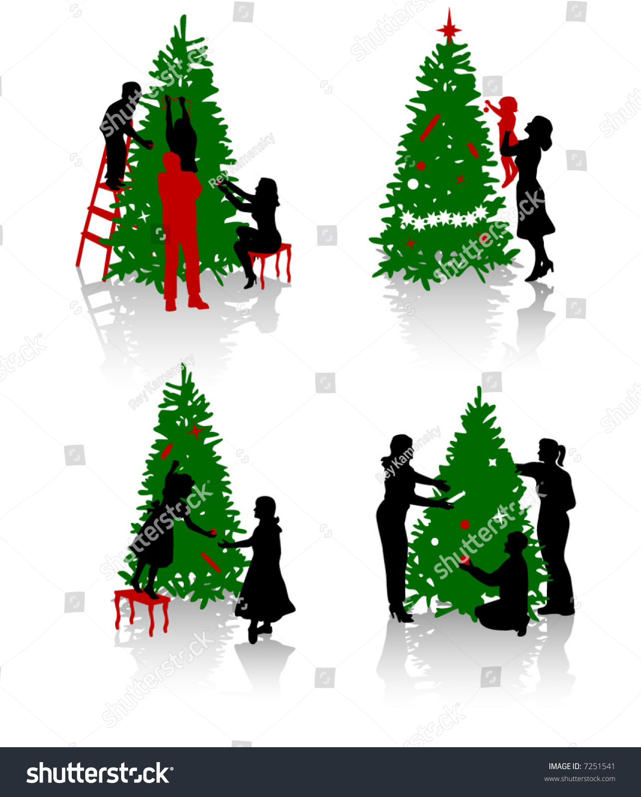 silhouettes of the people decorating a christmas tree - People Decorating A Christmas Tree