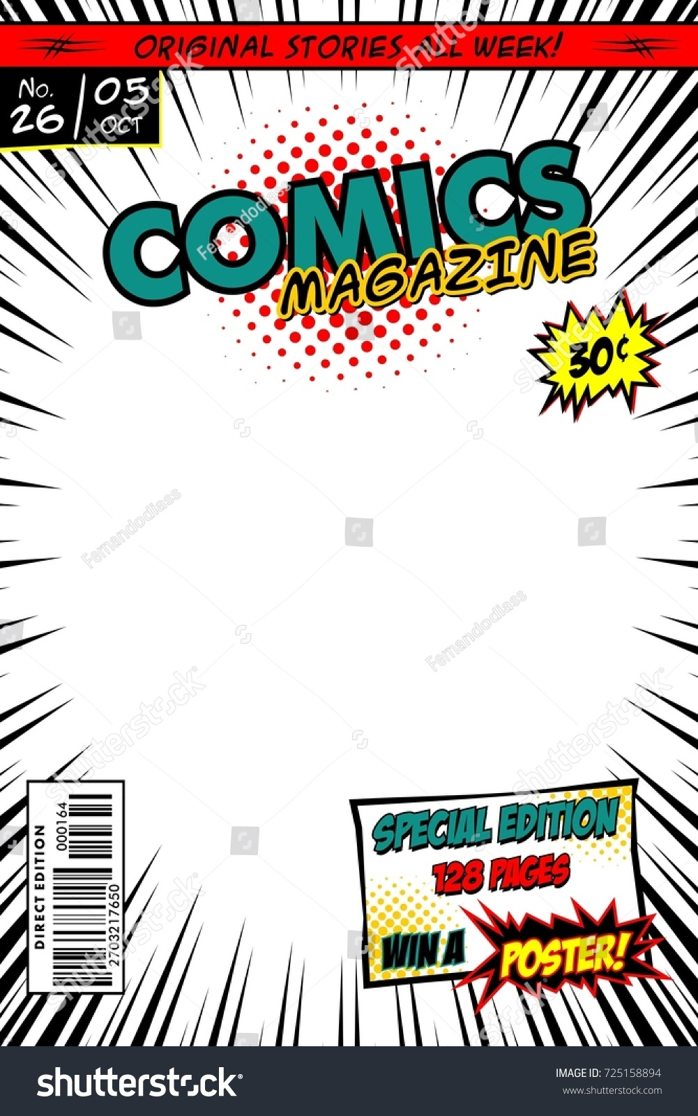 Marvel Comic Book Cover Template : Comic book cover vector template white stock