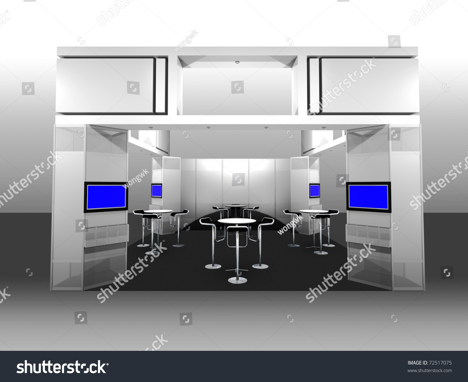 Exhibition Booth Area : D render of a blank trade exhibition booth with display