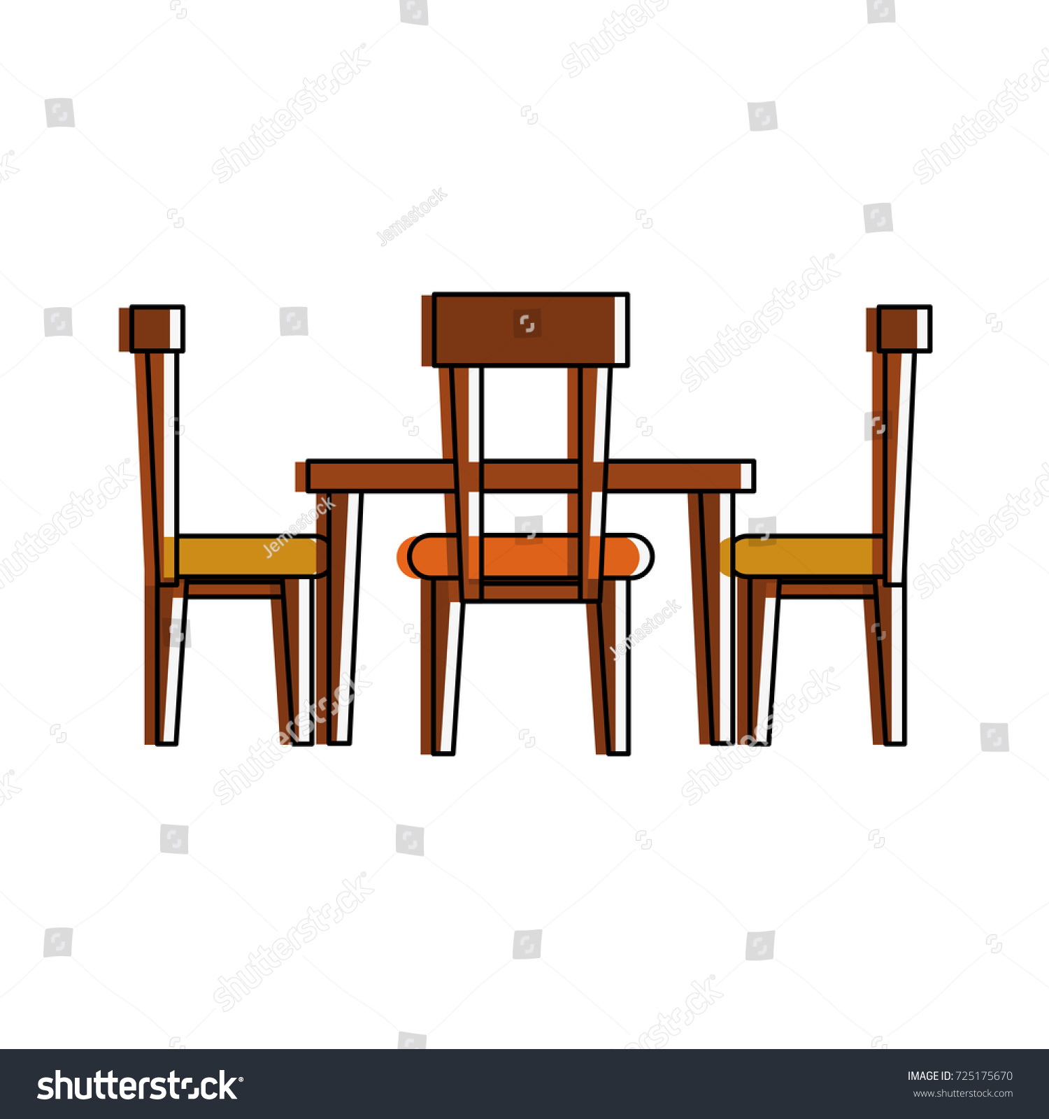 beautiful dining table set vector