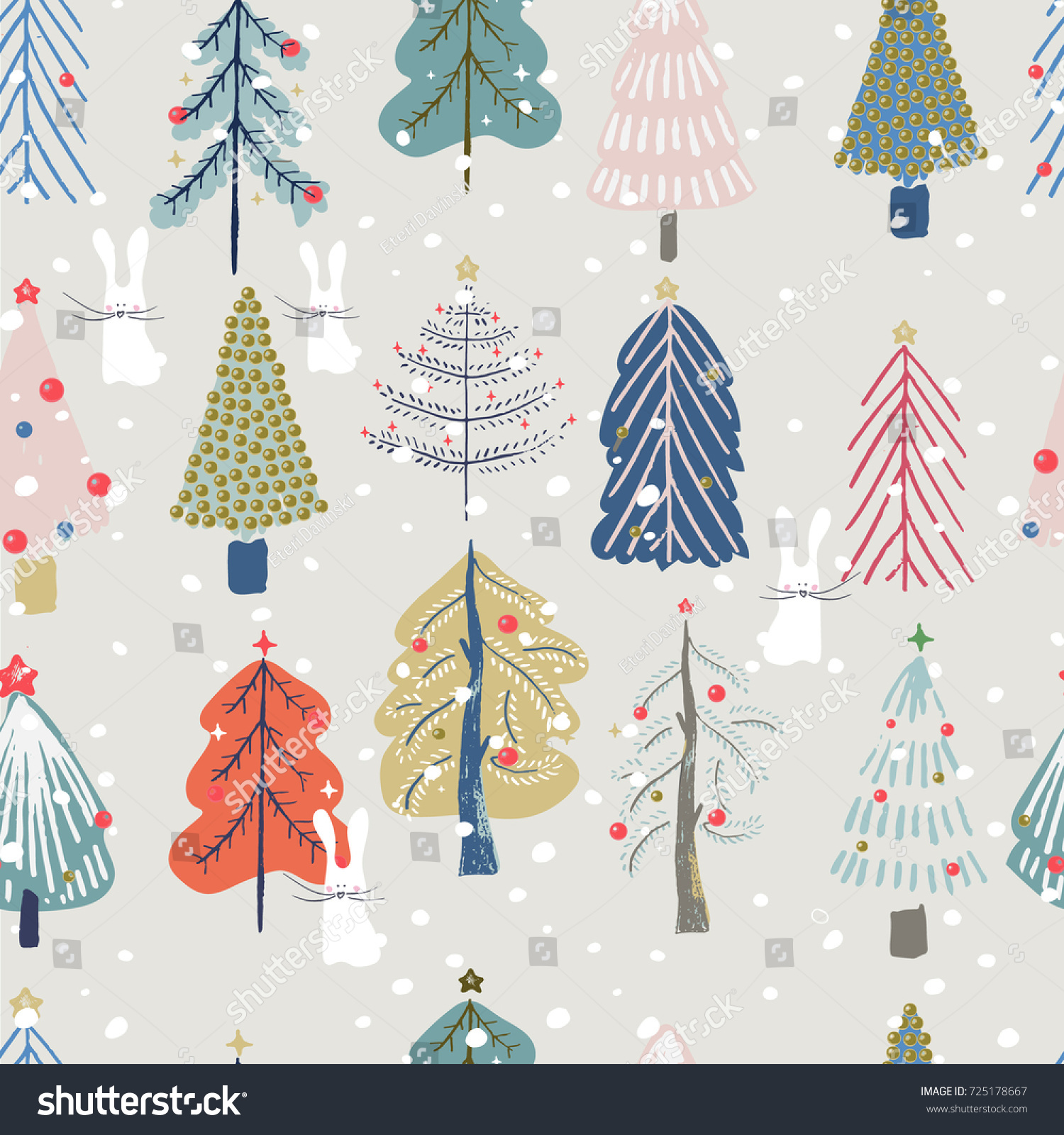 Seamless Pattern Cute Christmas Trees White Stock Vector (Royalty ...
