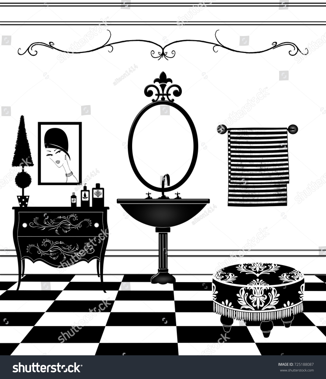 Cute Drawing Of A Black And White Bathroom With Vintage Pedestal Sink Damask Ottoman