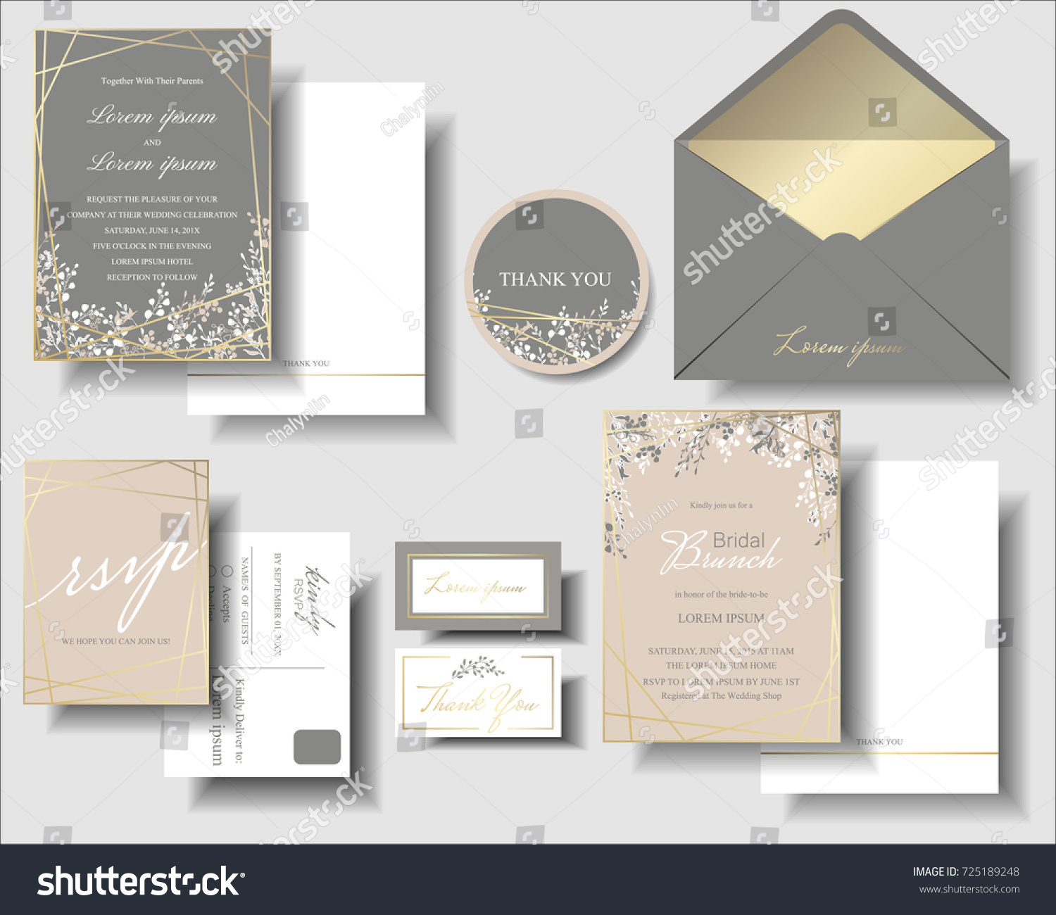 Set Pink Gray Has Small Flower Vector 725189248 Shutterstock – Small Invitation Card
