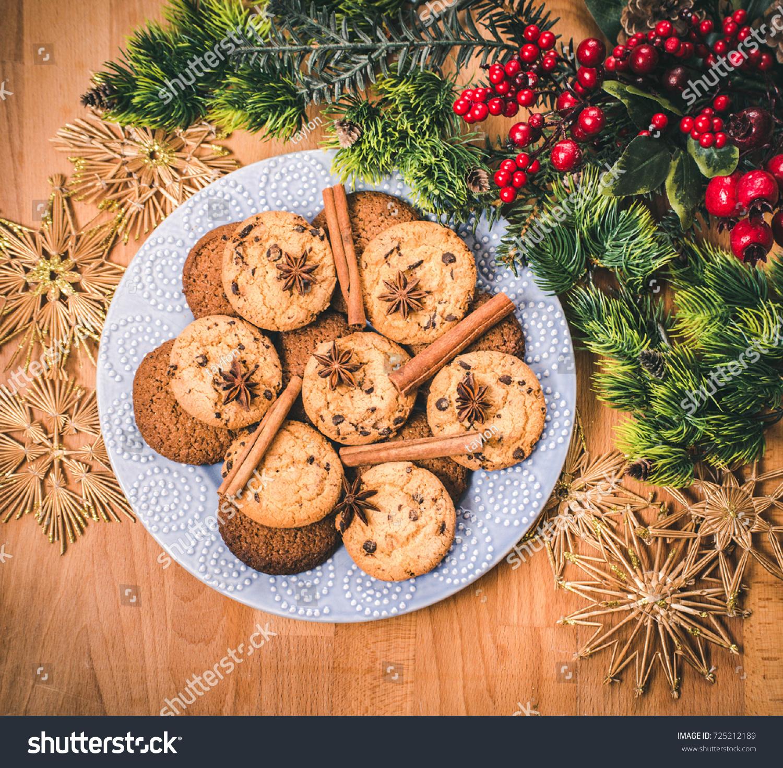 Christmas Cookies Festive Decoration Plate Tasty Stock Photo Edit