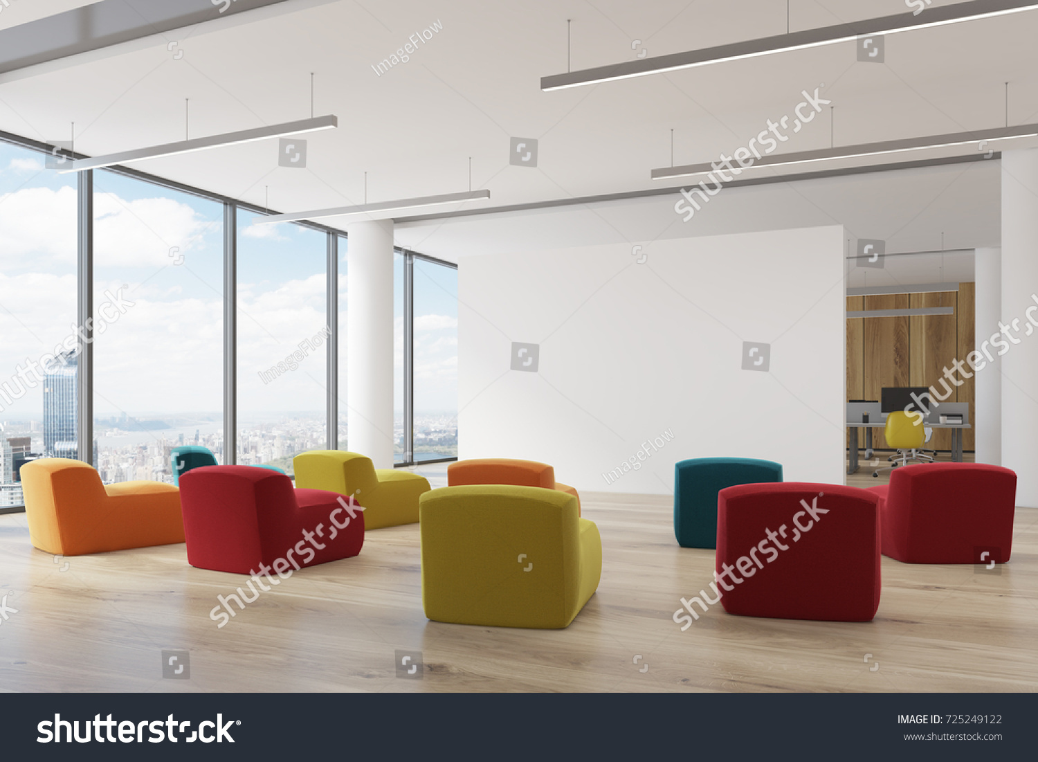 Corner Office Classroom Interior Number Multicolored Stock ...